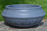Вазон уличный ф 450 мм, садово - парковый пластиковый для цветов (Термочаша - двойные стенки) Серый гранит