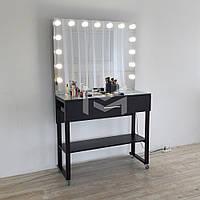 Гримерный столик Atlant с лампочками в зеркале на металлических ножка, фото 1