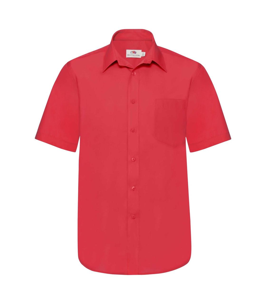 Мужская рубашка с коротким рукавом Poplin красная 116-40