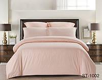 ✅ Комплект  постельного белья  двуспальный Евро (Страйп-сатин) TAG ST-1002 (Персиковый)