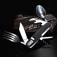 Туристический набор скадной (мультитул) 6 в 1 (ложка, вилка, нож, открывалка, штопор) Black