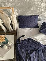"""Комплект постельного белья Полуторный (150х220 см) Ранфорс """" синий жемчуг""""."""