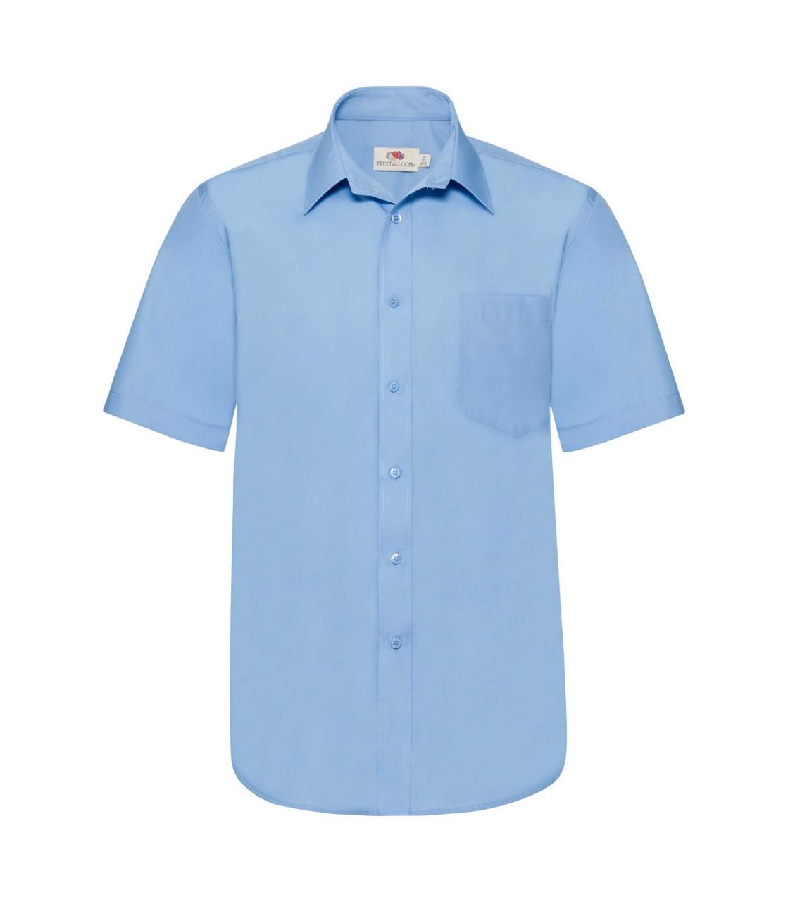 Мужская рубашка с коротким рукавом Poplin голубая 116-УТ