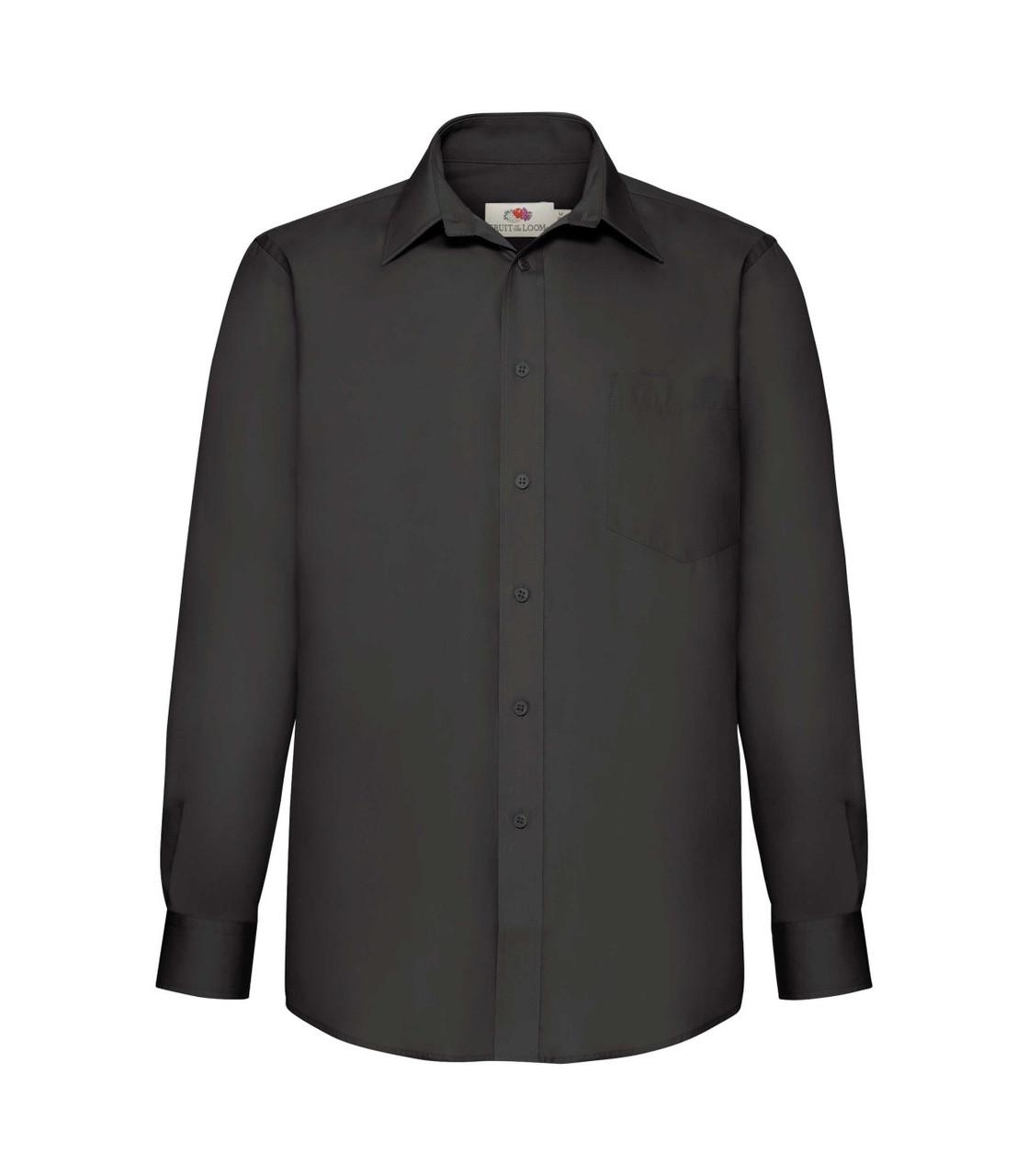 Мужская рубашка с длинным рукавом Poplin черная 118-36