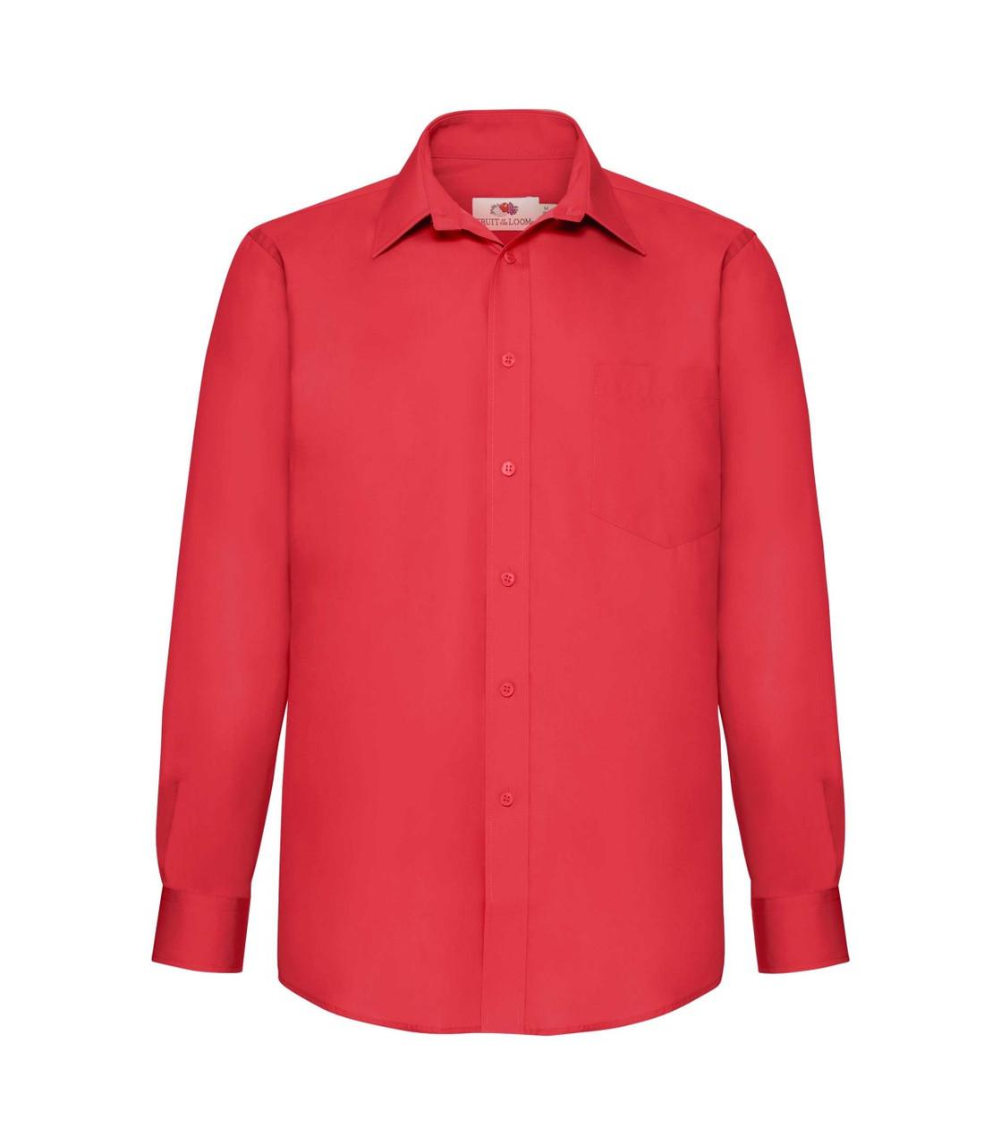 Мужская рубашка с длинным рукавом Poplin красная 118-40