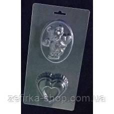 Пластиковая форма для шоколада Мишка с сердечками