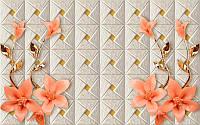 Фотообои Оранжевые цветы с ветками (10435)