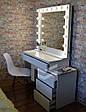 Гримерный стіл Milan зі зміщеною тумбою. Ящики без ручок відкриваються від натискання (КЛІК)., фото 2