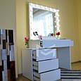 Гримерный стіл Milan зі зміщеною тумбою. Ящики без ручок відкриваються від натискання (КЛІК)., фото 3