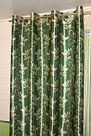Готовый комплект штор на люверсах блэкаут зеленый с узором, фото 1