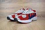 Кросівки в стилі Adidas Yung 1 червоні з синім, фото 2