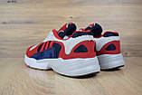Кросівки в стилі Adidas Yung 1 червоні з синім, фото 3