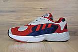 Кросівки в стилі Adidas Yung 1 червоні з синім, фото 4