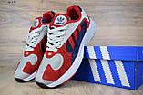 Кросівки в стилі Adidas Yung 1 червоні з синім, фото 6