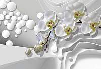 Фотообои Белые орхидеи и 3д волны (10439)