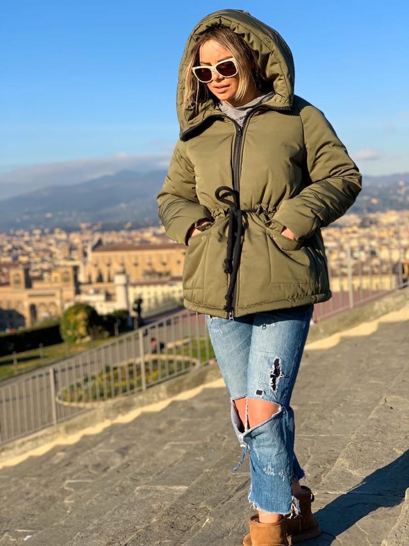Стильная женская короткая куртка с капюшоном,цвет хаки