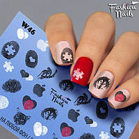 Слайдер-дизайн для дизайна ногтей - водные наклейки - сердечки, яблоко, отпечаток пальцев W46