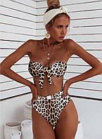 Женский раздельный купальник со леопардовым принтом и завышенными трусиками