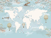 Фотообои Детская карта мира на голубом фоне с самолетами и воздушными шарами (10441)