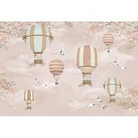 Фотообои Детская карта мира на розовом фоне с самолетами и воздушными шарами (10449)
