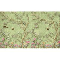Фотообои Хохлатые птички с цветами (10455)