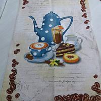 Готове бавовняний рушник з блакитним чайником, чашкою і тортиком, 45х70 см, фото 1