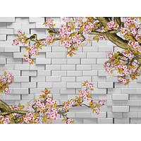 Фотообои  3д в цветы на кирпичной стене (10474)