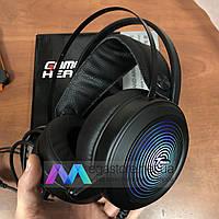 Игровые наушники проводные с микрофоном Tanbow геймерские для компьютера и ноутбука с подсветкой