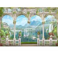 Фотообои 3DFotooboi виниловые на флизелиновой основе Белые арки с видом на горы и лебедей (10499)