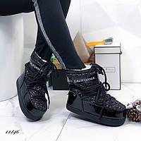 Женские луноходы Moon Boot черные лаковые на шнуровке