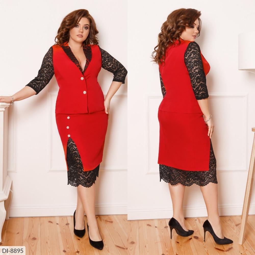 Костюм двойка, юбка на подкладке, красный, №190, 48-58р.