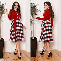Нарядное платье клетка с поясом, красное, №197, 42-46р.