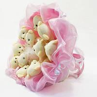Букет из плюшевых игрушек нежно розовый