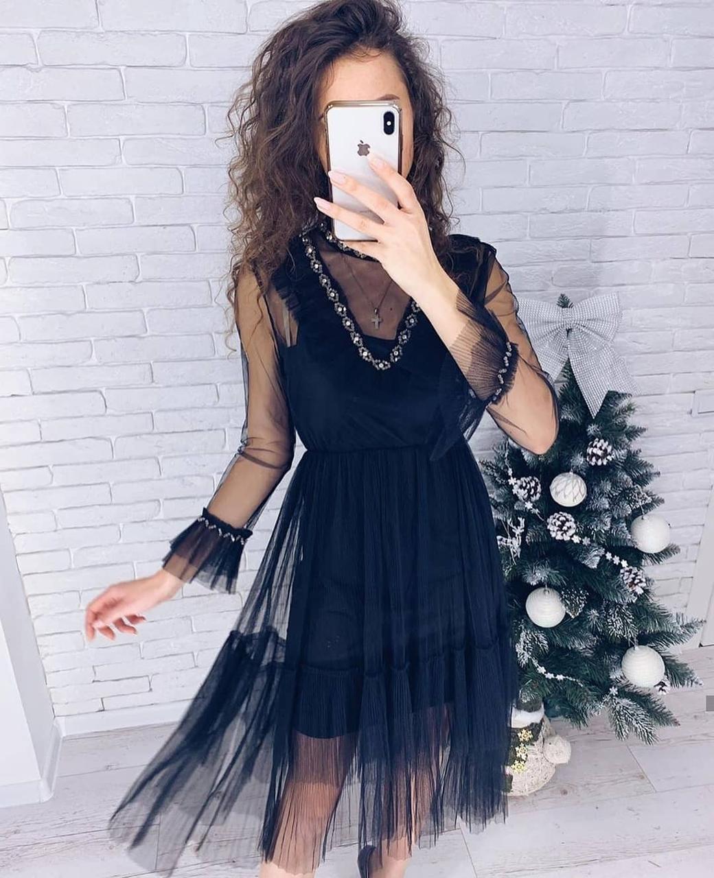 Легкое нарядное платье сеточка 42-46 (в расцветках)