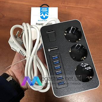 Сетевой фильтр удлинитель Morbest MB-W09 с usb портами на 3 розетки и 6 USB 2м переноска для электроприборов