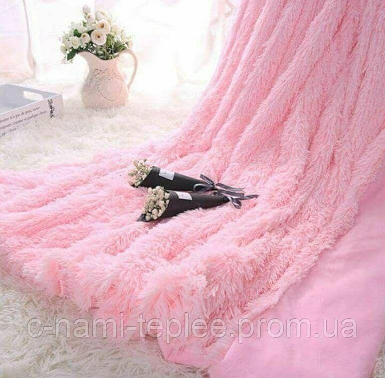 Плед травка 220х240 см Нежно-розовый