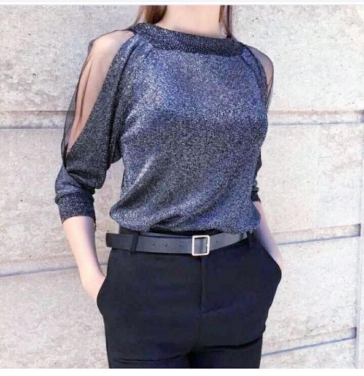 Нежный пуловер с люрексом и сеточкой 42-44 (в расцветках)