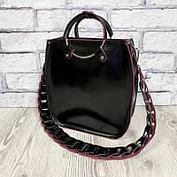 Оригинальная женская кожаная сумка, черный глянец марсала 1710, фото 1