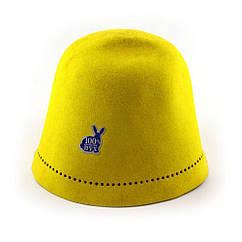 Шапка для бани и сауны из шлифованного кроличьего пуха Fassbinder™ Premium желтая