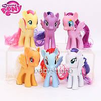 Набор фигурок Май Литл Пони цена за 6 шт с Волосами My Little Pony 8 СМ Мой маленький пони Игрушка для девочек