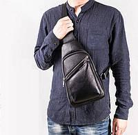 Мужская кросс-боди кожаная сумка на грудь