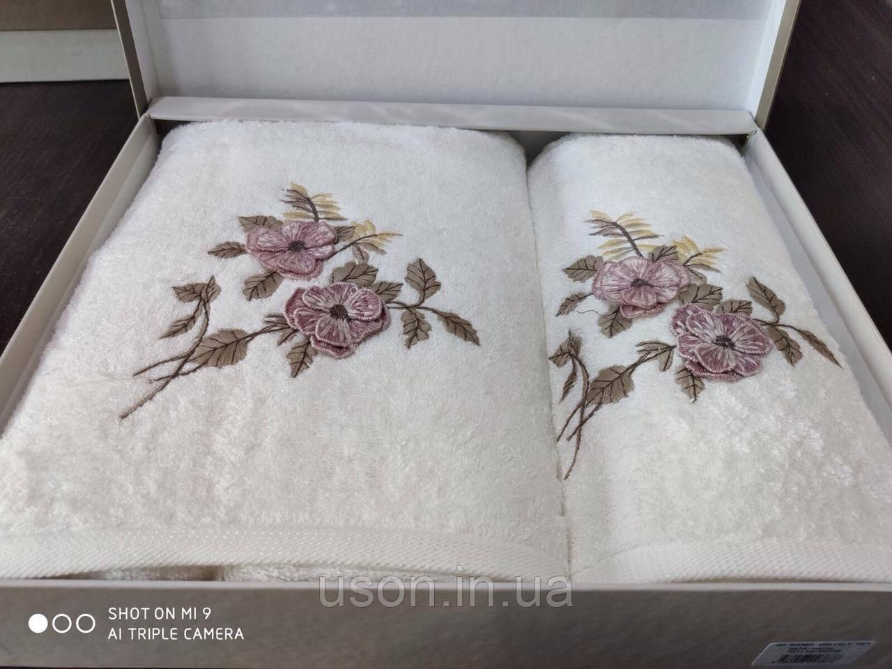 Набор махровых полотенец бамбук 50*90 и 70*140 TM PUPILLA  Турция   Cicek Bambuk 3D
