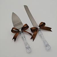 Набор нож и лопатка для свадебного торта (коричневый цвет), фото 1