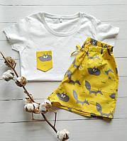 Женская пижамка желтая в лисички 100% хлопок