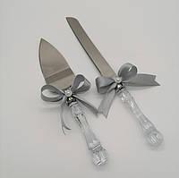 Набор нож и лопатка для свадебного торта (серебристый цвет), фото 1