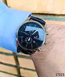 Часы мужские в стиле BOSS. Мужские наручные часы цвета серебро. Часы с черным циферблатом Годинник чоловічий