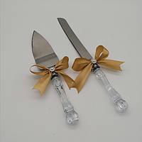 Набор нож и лопатка для свадебного торта (золотистый цвет), фото 1