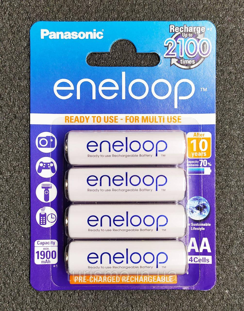 Panasonic eneloop AA аккумулятор Ni-MH 1900 mAh с низким саморазрядом (LSD). Оригинал. BK-3MCC/4BE