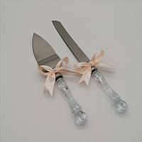Набор нож и лопатка для свадебного торта (персиковый цвет), фото 1