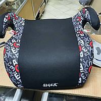 Автокресло-бустер детское Siger Мякиш группа 3, 22-36 кг , кресло в авто, бустер Алфавит черное